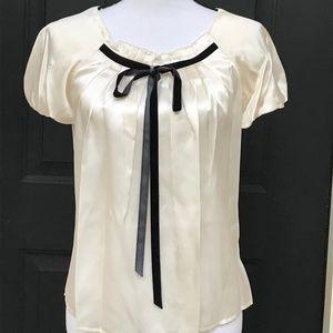 NWT 100% Silk Cream color Blouse with black velvet